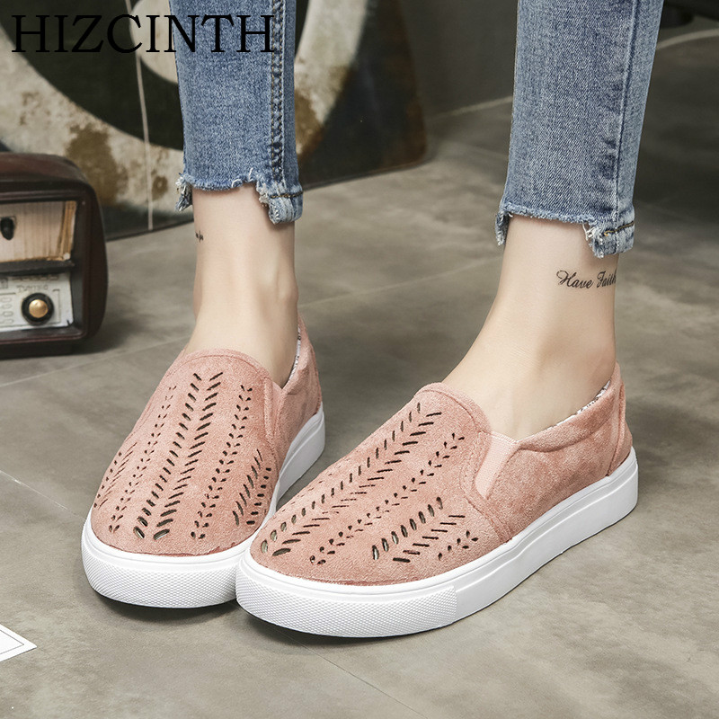 HIZCINTH 2018 Spring Oxfords Shoes Women Hollowed Out Round Toe Slip-on Leisure Loafers Casual Flats Shoes Woman Plus Size summer slip on shoes women oxfords shoes loafers flats woman casual flat shoes high quality plus size 35 40