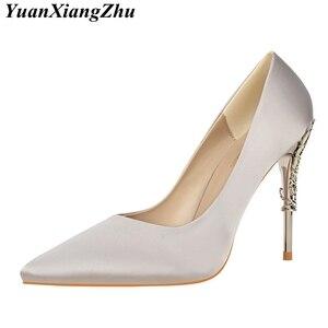 Image 5 - Zapatos de tacón alto de seda para mujer, calzado de tacón tallado de Metal, Sexy, elegante, a la moda, de 13 colores/10cm, para boda, 2019