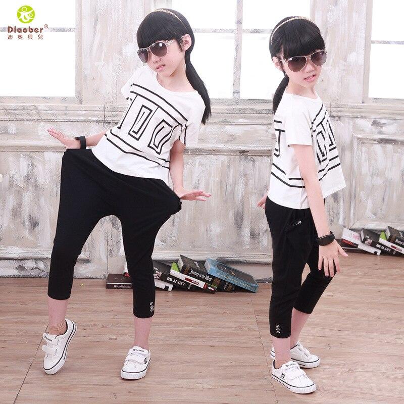 Children Kid Boy Girl Hiphop Hip Hop Jazz Ballroom Modern Costume Geometric Designs Bat Sweater T Shirt Top Harem Pant