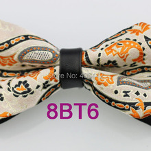 YIBEI Coachella Ties Black Bottom Beige Bow Ties With Orange Paisley Bowtie  Diamond 80d46887642f