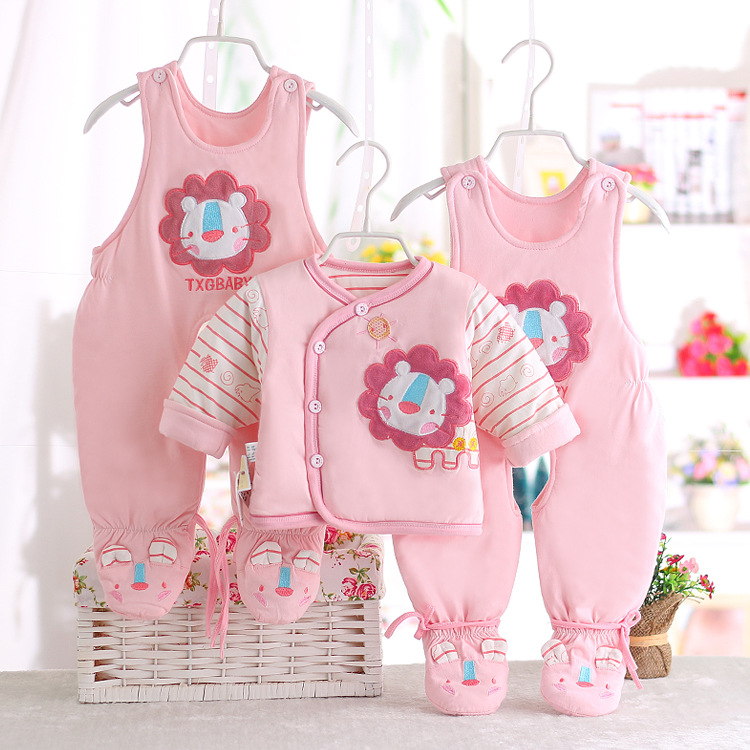 ФОТО High Quality 3 Pcs(2 overall +1 coat )Autumn Winter Baby Clothing Set Infant Baby Suit Newborn Jumpsuit