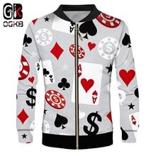 OGKB Fashion Artsy Minimalist Classic 3d Printed Poker Game Jacket Man Clothing