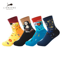 Art Socks Vintage Classic Painting Mona Lisa Women Socks Fashion Cotton Socks Jelly Bean Candy Popsocket(China)