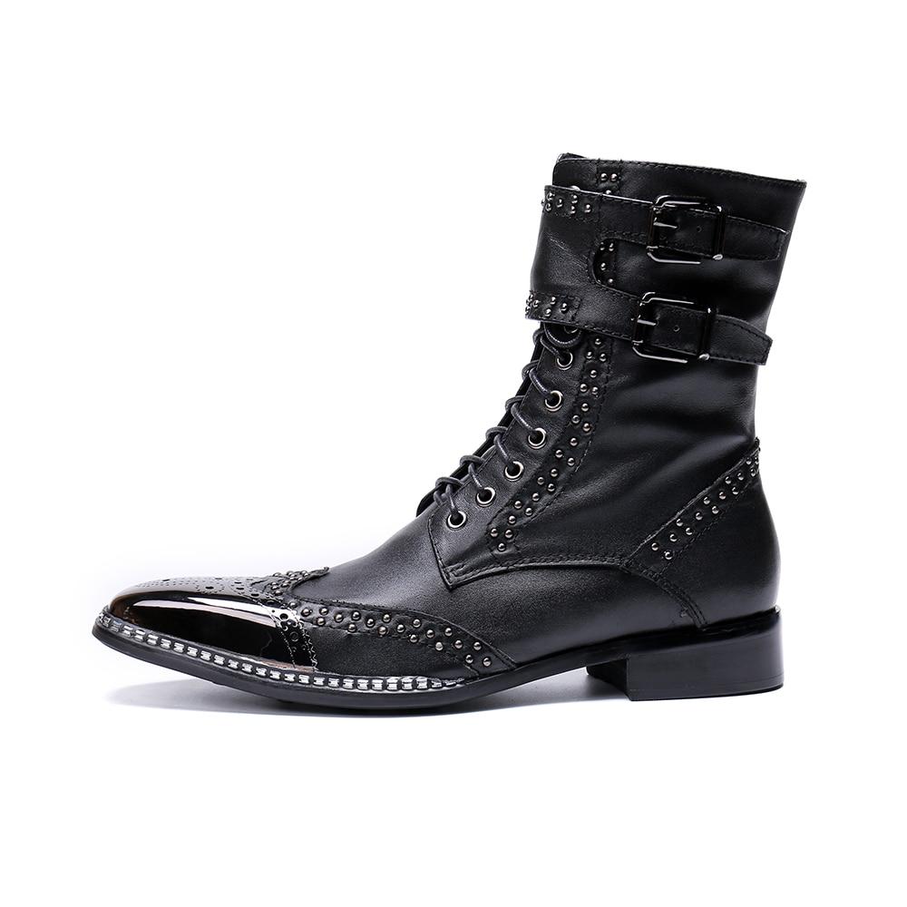 Cuero Zapatos Metal Caballero Christia Negro Punta Botas Bella Hombre Hombres De Los Marca Genuino Combate Nueva YwPwxq1B