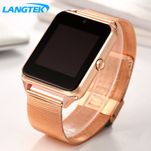 Langtek bluetooth smart watch z60s mtk6261d reloj smartwatch con cámara sim/tf ranura de la tarjeta para iphone xiaomi teléfono android