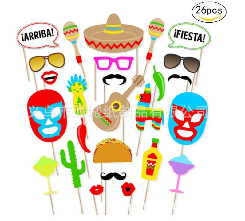 26pcs Set Mexican Themed Photo Booth Props Kit Decorations Summer