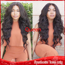 New Cheap 26″ Long Body Wavy Hair Quality Glueless Brazilian Synthetic Lace Front Wig Heat Resistant Wavy Wigs For Black Women