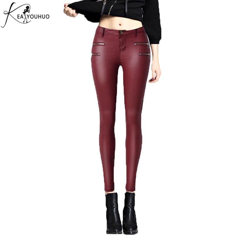 2018 Kalhoty dámské PU kožené kalhoty s vysokým pasem plus velikost elastičnost natahovat víno červené pro ženy pantalon femme hubené džíny