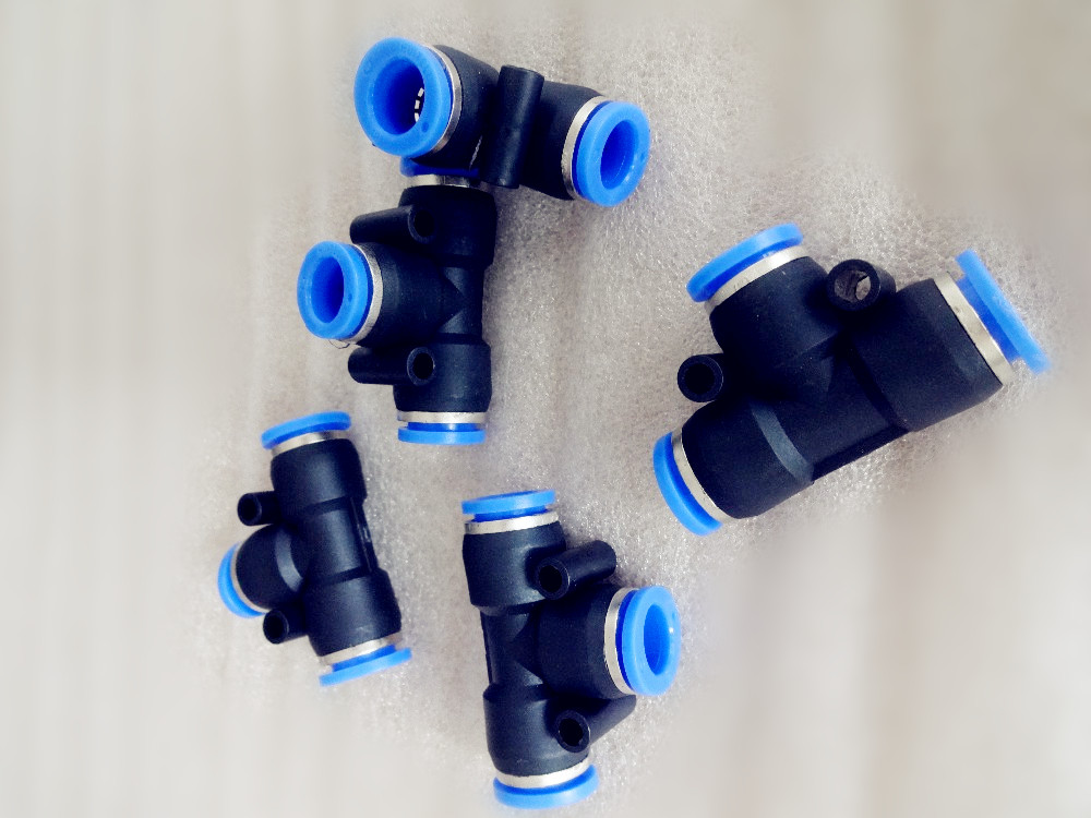 5pcs,T-junction Pneumatic Fittings Air 3Way Quick Pneumatic Connector Components Rapid Push Pipe Fittings Connector For PU Hose new 1 pcs pneumatic push in fittings connector for air water hose