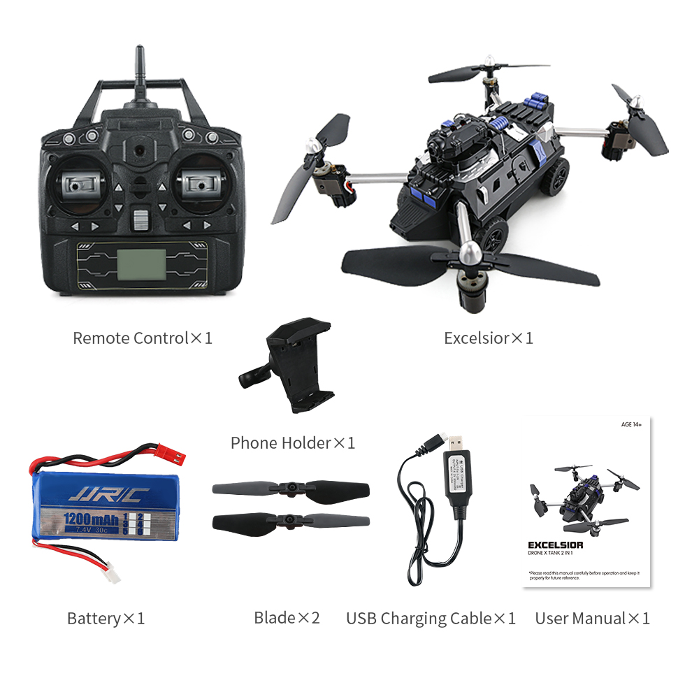 JJRC H40WH WIFI FPV Drone with Camera 200W RC Quadcopter Tank 2.4G 4CH 6Aixs Gyro Air And Ground Mode Atitude Hold F21720 original jjrc h28 4ch 6 axis gyro removable arms rtf rc quadcopter with one key return headless mode drone