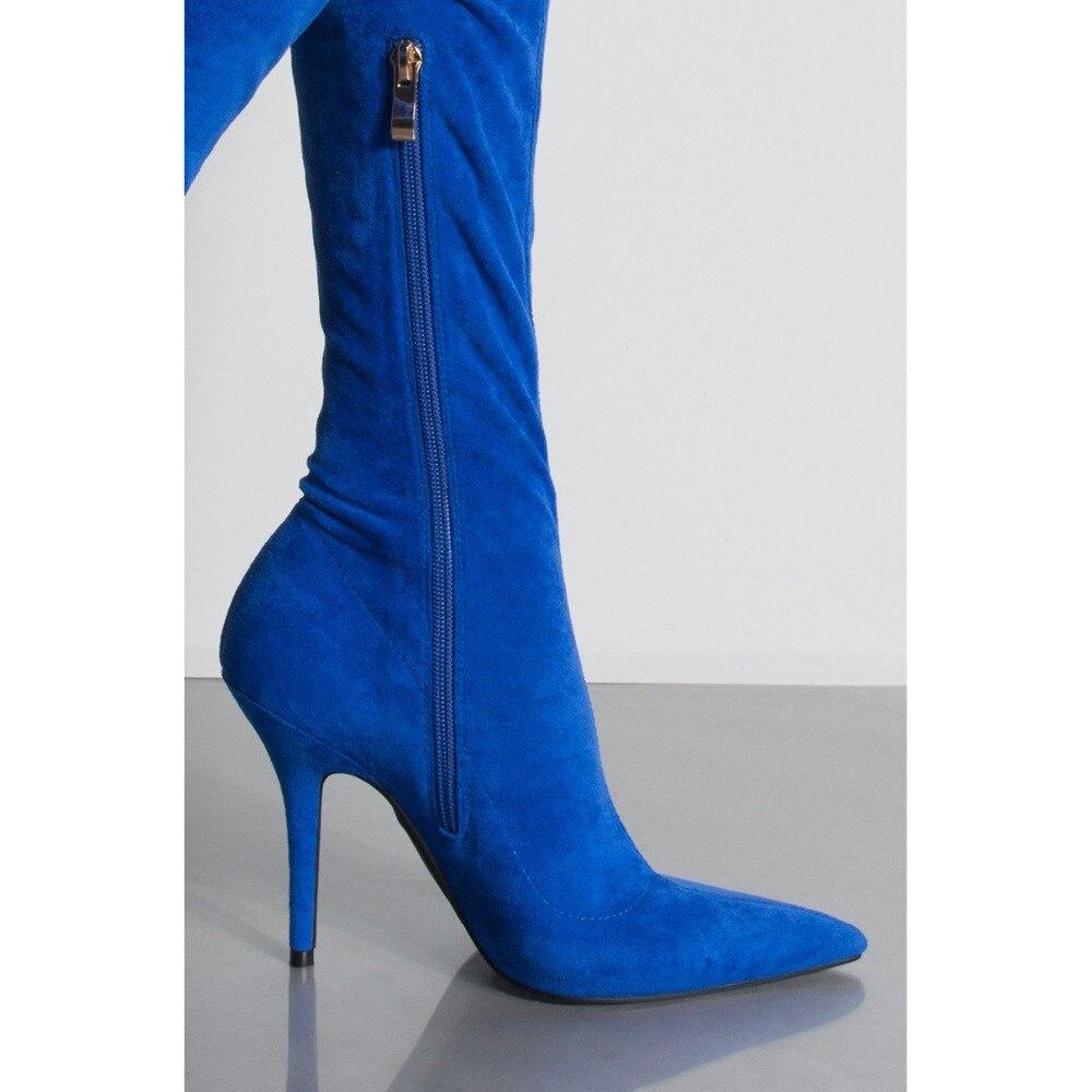 2019 moda elástica azul marino muslo botas altas mujeres gamuza punta sobre la rodilla botas Sexy señoras vestido de fiesta zapatos de las mujeres - 6
