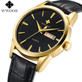 WWOOR Luxury Brand Day Date Genuine Leather Strap Men's Casual Quartz Watch Men Sports Watches Gold Wristwatch Relogio Masculino