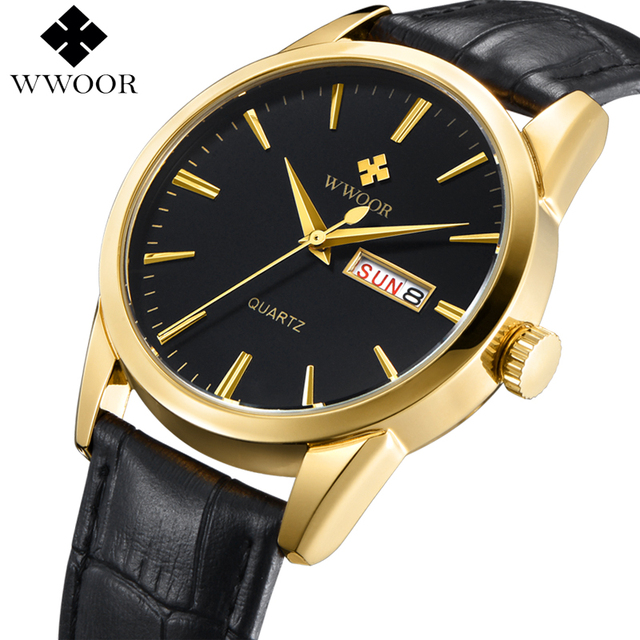 WWOOR Luxury Brand Day Date Genuine Leather Strap Men's Casual Quartz Watch Men Sports Watches Gold Wristwatch Relogio Masculino