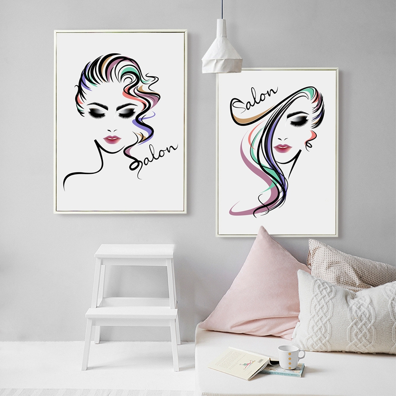 Beautiful Girl Hair Salon Canvas Art Print Poster , Hair