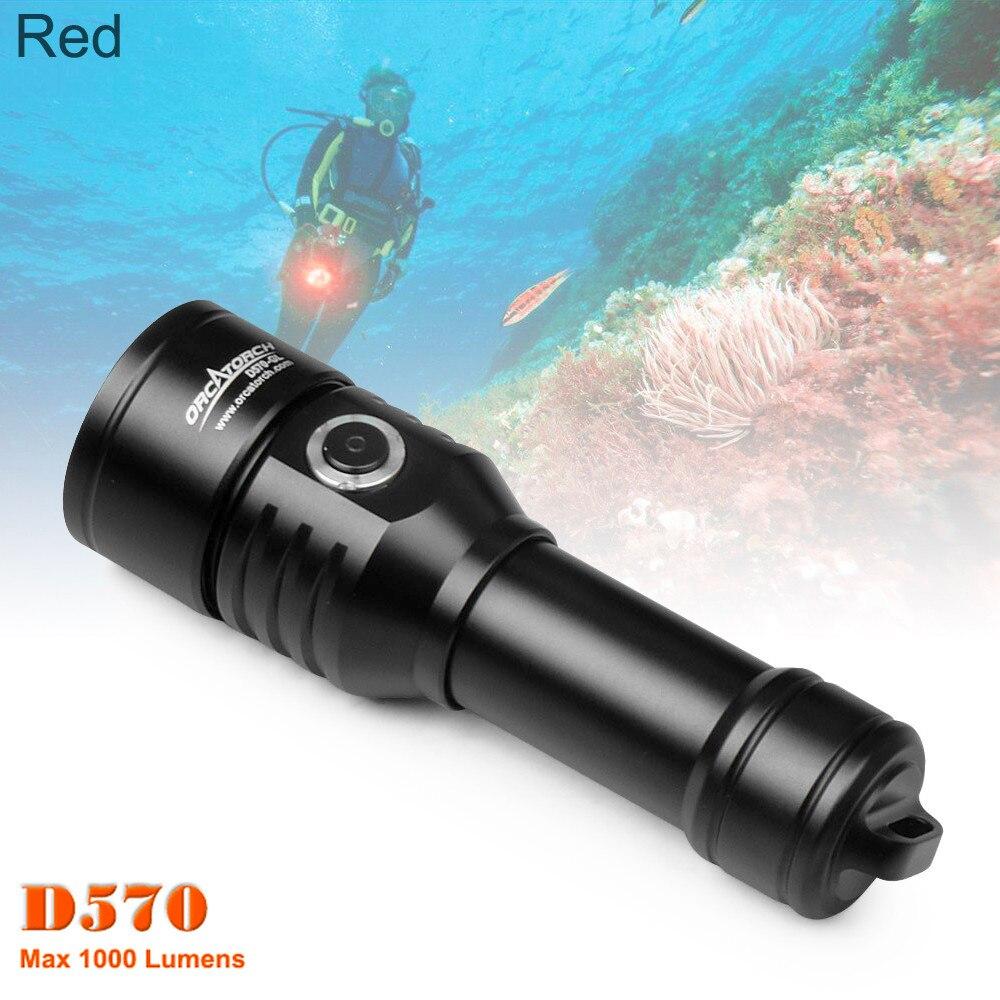 ORCATORCH D570 lampe de poche de plongée professionnelle extérieure 1000 Lumens faisceau blanc + Laser rouge sous marin 150m LED lampe torche de plongée