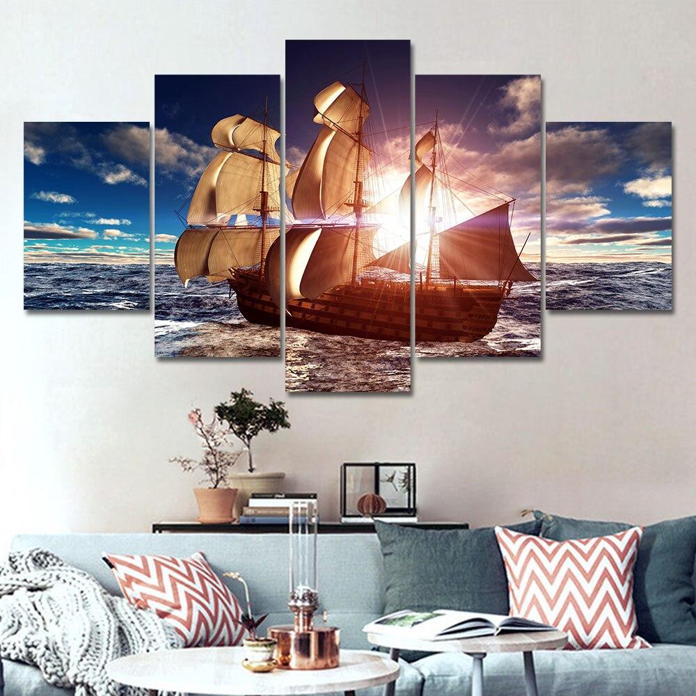 5 Panel Moderna de la Lona Impresiones de Mar en Barco al Atardecer ...