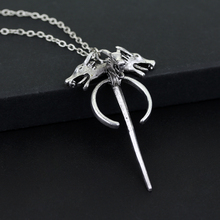 Game Of Throne Double Wolf Head Sword Pendant Necklace