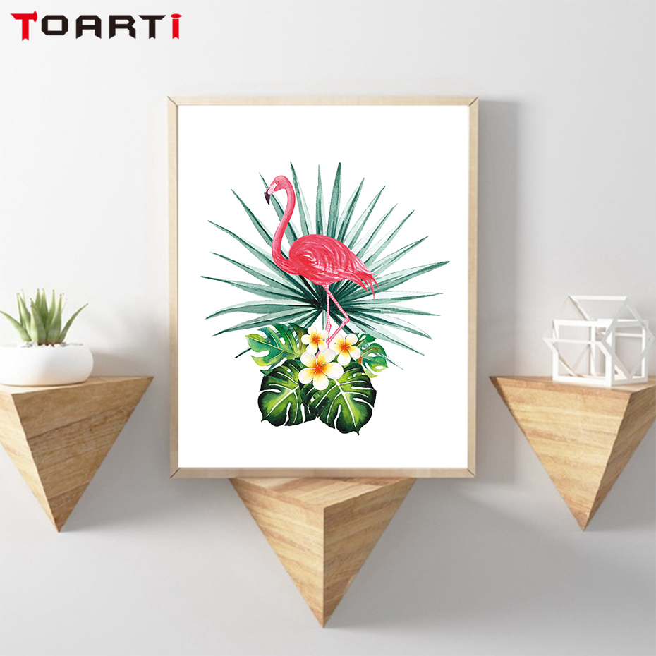 Nordic Style Flamingo Plant Leaves Wall Art Canvas  Painting Home Decoration Tropical plant Animal Picture For Living Room
