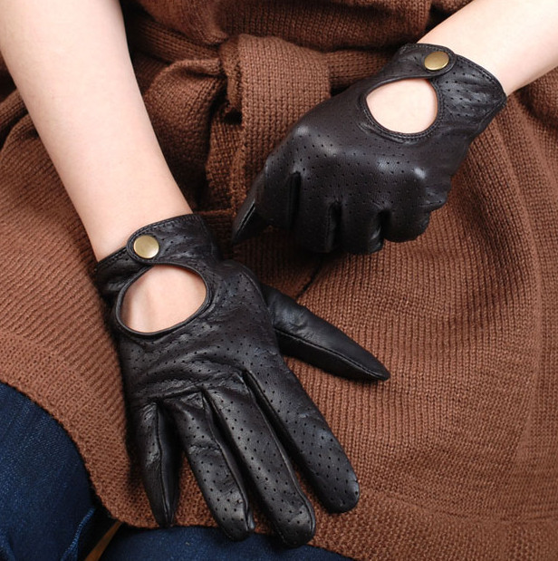 Women's motorcycle gloves sheepskin genuine leather gloves hole-digging punk leather full leather repair hand
