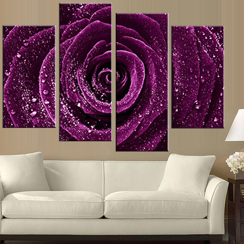 Purple Flower Wall Art paintings purple flowers promotion-shop for promotional paintings