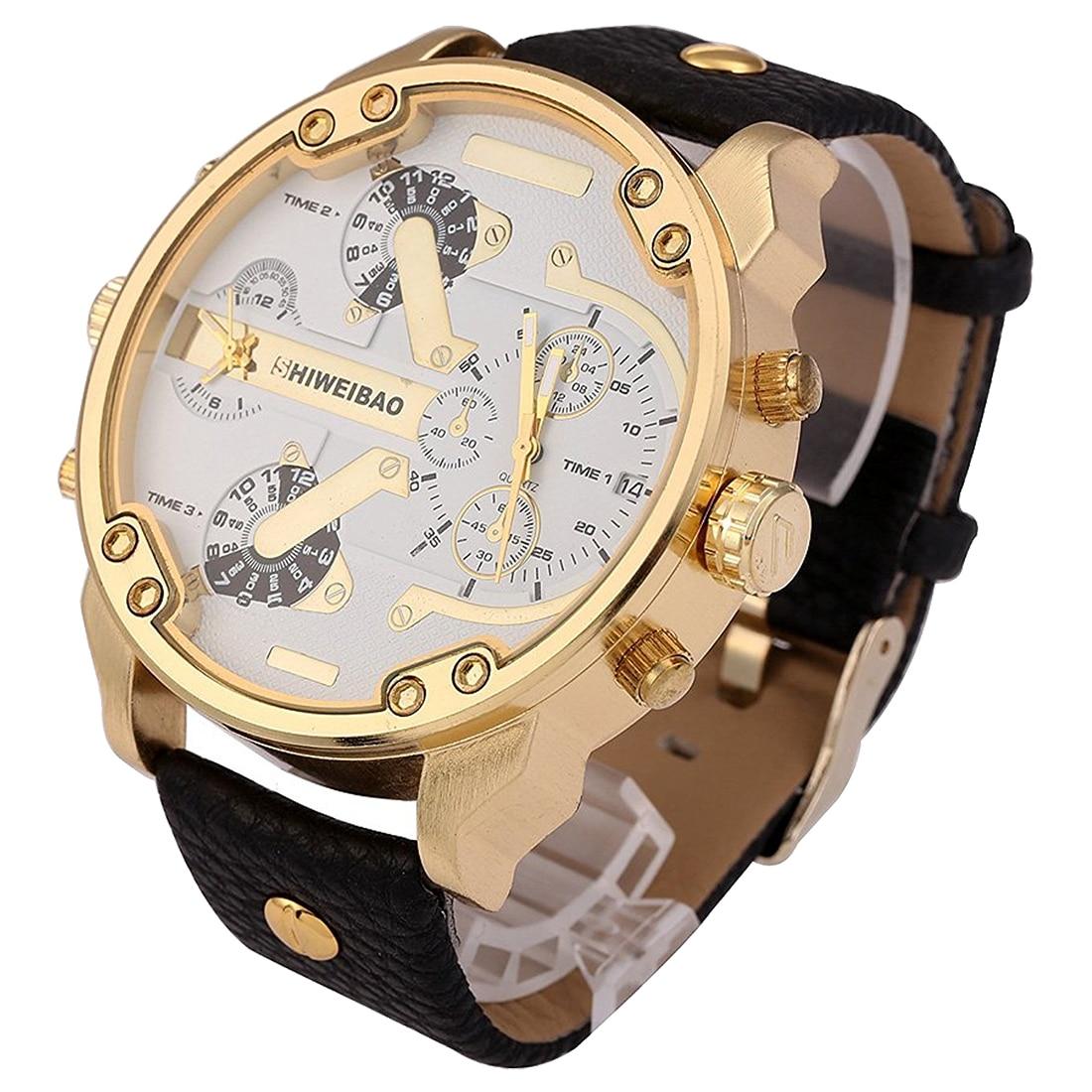 SHIWEIBAO 3137 Quartz Watch Cool Fashion Men's Leather Double Dial Large Dial black white shiweibao a1165 casual oversized dial quartz watch for men