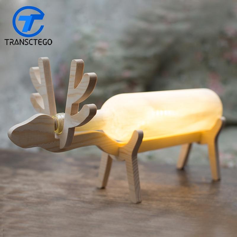 Original Design Simple Style 5W Led Novelty Light Wooden Night Light Deer Table Lamp Gift For Bedroom