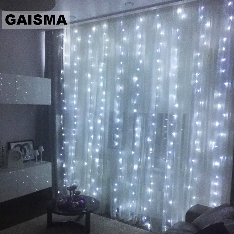 3M x 2M Christmas LED Curtain <font><b>Lights</b></font> Garland Wedding <font><b>Decorations</b></font> Bedroom Fairy <font><b>Lights</b></font> Party <font><b>Home</b></font> New Year Holiday Lighting image
