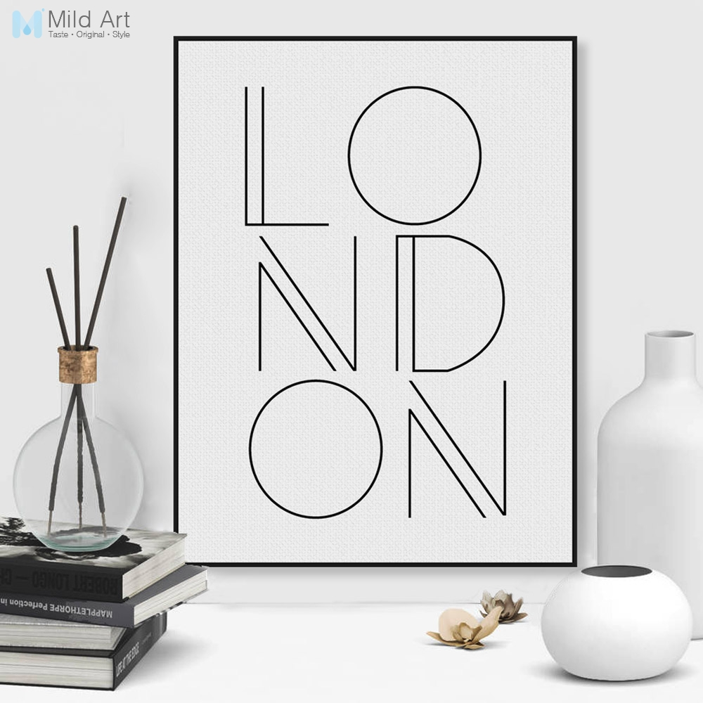 US $3 46 45% OFF|Black White Minimalist London City Typography A4 Poster  Nordic Living Room Wall Art Pictures Home Decor Canvas Painting No Frame-in