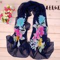 La orden mínima $5 2014 Accesorios de moda primavera verano mujeres bufanda pashmina mantón floral de la gasa de seda del cabo tippet silenciador YN-056