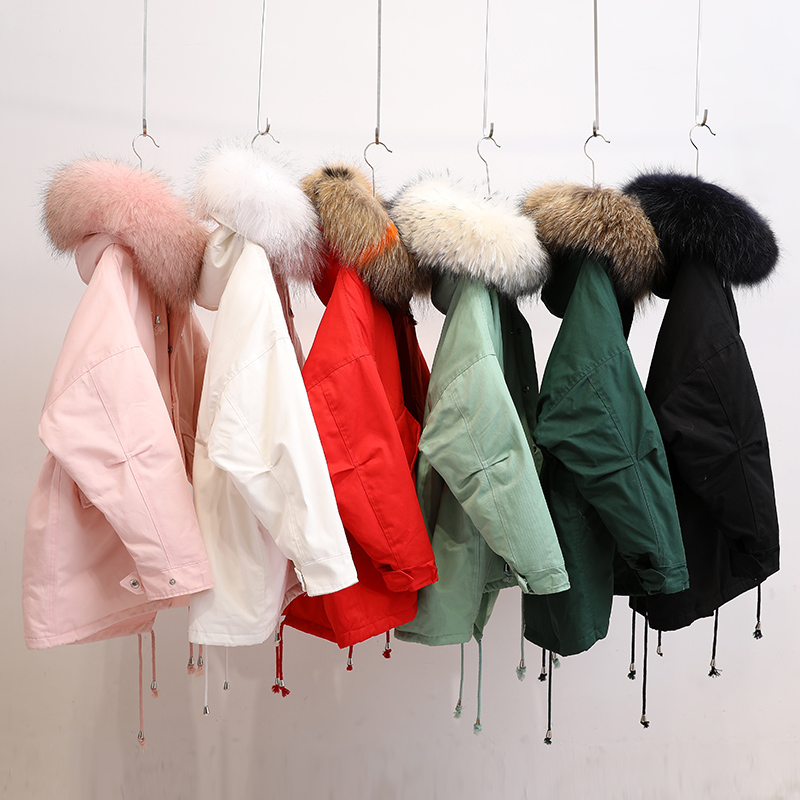 100% Real Raccoon Fur Winter Women   Parkas   2018 New Candy Colors Bat Sleeved Loose Outer Coat Waist Plus Size Down Jackets