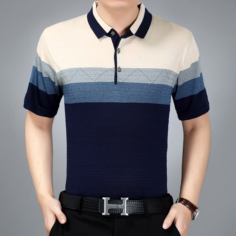 Summer classic middle-aged male short sleeve   polo   lapel striped   polos   dad men thin cotton   Polo   Business Casual Breathable shirt