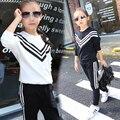 Niñas Juegos de los Deportes de Rayas Chándales Para Las Muchachas Que Arropan La Manga Larga Niños Trajes de Ropa Deportiva de algodón 2 4 6 8 10 12 Años
