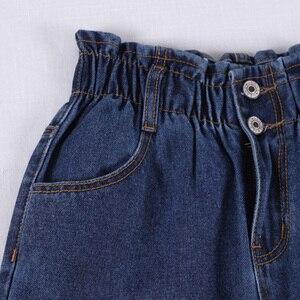 Image 4 - Genayooa Pencil Jeans 여성 플러스 사이즈 여성용 하이 웨이스트 보이 프렌드 청바지 신축성있는 허리 바지 루즈 한 빅 사이즈 청바지 여성