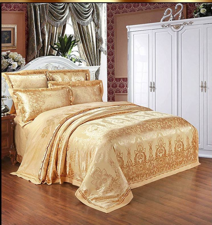 Home Textile Bedding Set Luxury 6pcs Gold Beige Blue