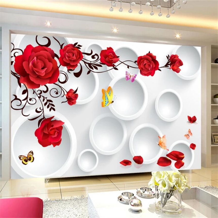beibehang Custom wallpaper 3D mural circle rose romantic love background wall living room bedroom wall papers