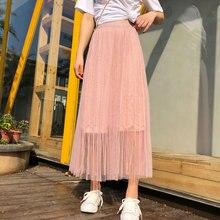 YICIYA pink tassel skirt women plus size mesh tulle tutu tule rok pleated ankle length long 2019 summer skirts female clothing
