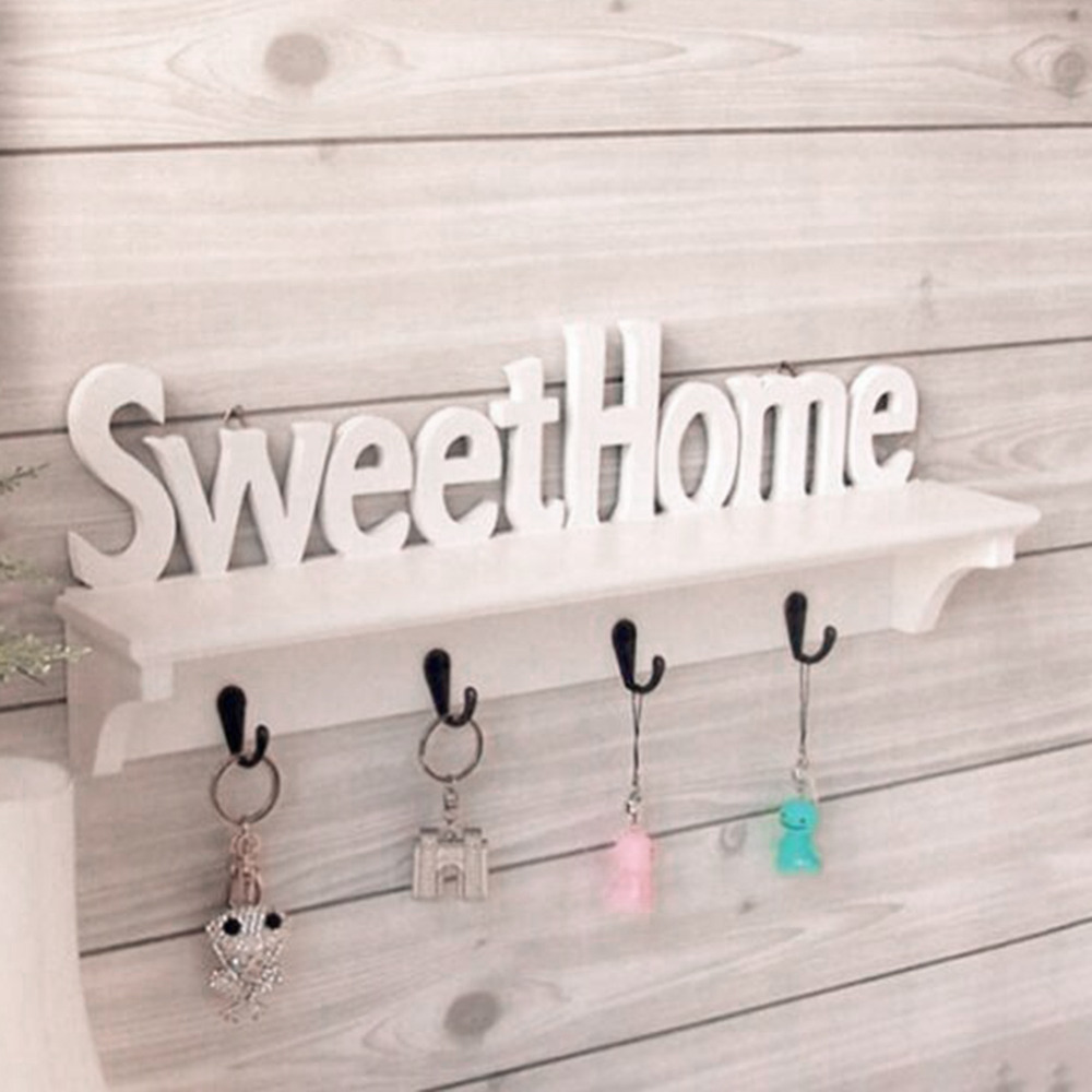 WPC Board Wall Hook Rack Sweet Home Wall Shelf Clothing Wall Hangers Door Bathroom Home Decoration Storage Holder Organizer Coat rack