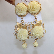 Brand Baroque Red and White Rose Earrings Gold Plated Leaves Long Crystal Jewelry With Big Flowers  ER043