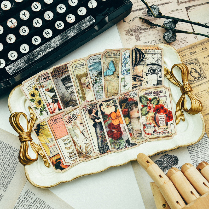 80Pcs/Pack Vintage Bills Labels Tags Die Cuts Paper For DIY Scrapbooking Planner Card Making Journal Project