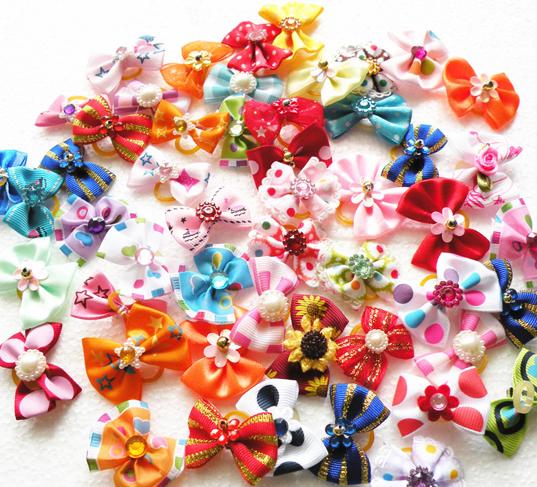 Clearance!300PC/Lot Dog Bows Ribbon Hair Bows Pet Grooming Accessories Flower Rubber Bands-in Dog Accessories from Home & Garden    1