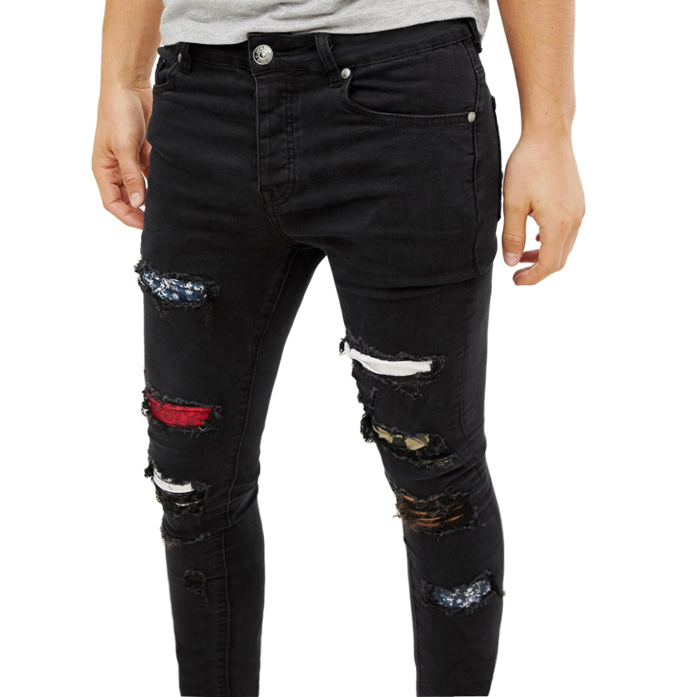 Fashion Men Ripped Jeans Design Stretchy Skinny Jeans For Men Y5772
