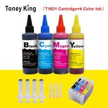 T16 16XL T1631 заправляемые чернильные картриджи для Epson WorkForce WF 2010 2510 2630 2660 2750 2760 принтер+ 4 цвета 100 мл чернилами