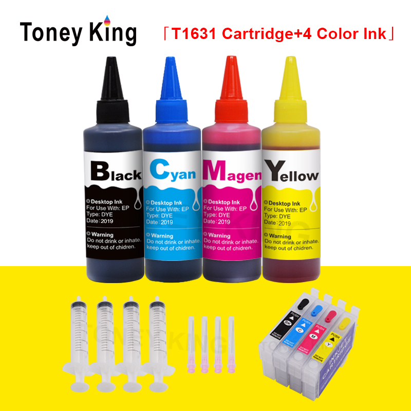 T16 16XL T1631 Refillable Ink Cartridges For Epson WorkForce WF 2010 2510 2630 2660 2750 2760 Printer + 4 Color 100ml Dye Ink