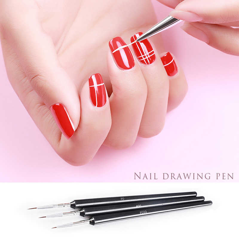 3Pcs Nail Art Brush Liner Dotting Fan Design Acrylic Builder Flat Crystal Painting Drawing Carving UV Gel Manicure hook line Pen