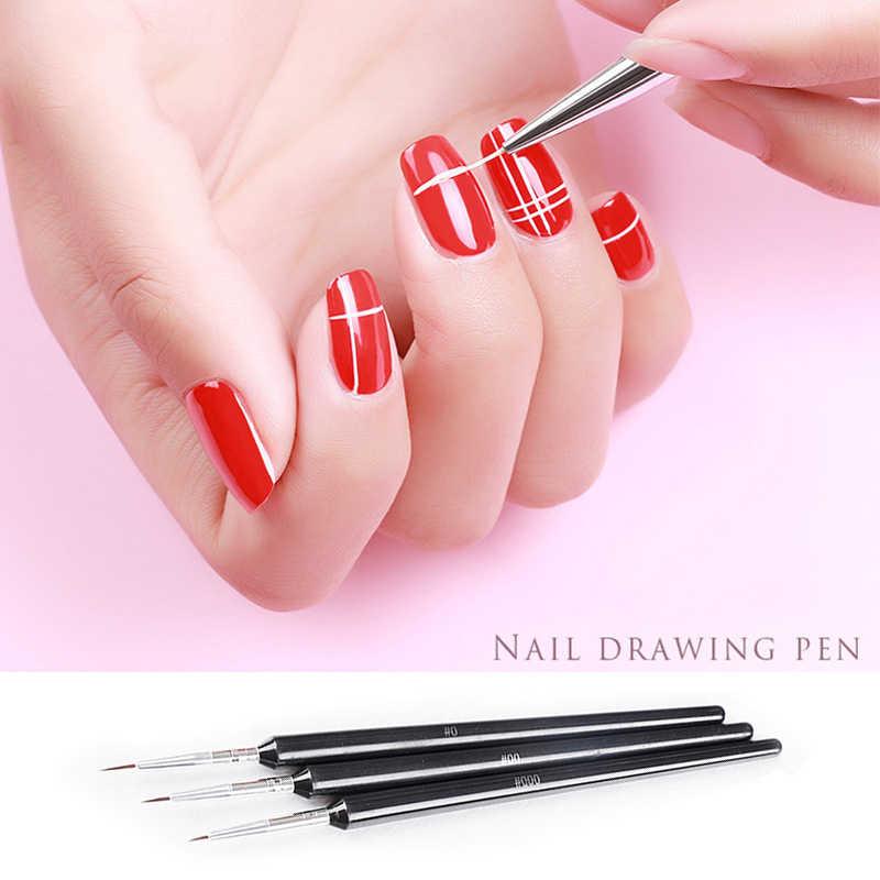 3 piezas pincel de Arte de uñas forro Dotting ventilador diseño acrílico Builder pintura de cristal plano tallado Gel UV manicura gancho línea de la pluma