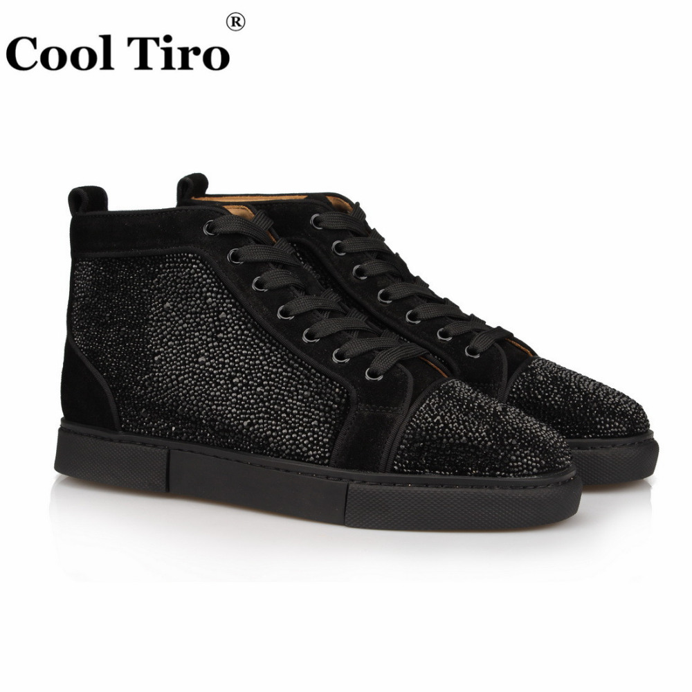 82a0f1d7ed8fff COOL TIRO Black Strass Rhinestones Sneakers Men s Flats Suede high-top  Sneaker Genuine Leather Men Casual Shoes Lace-Up 2017 new
