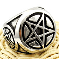 fashion retro stainless steel magic star ring pentacle round punk man men jewellery WR303