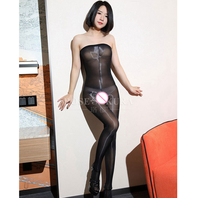 Buy Sexy Women 8D Open Crotch Shining Shaping Bodyhose Shiny Glossy Oil Stockings High Waist  Pantyhose Sexy lingerie Tights F20