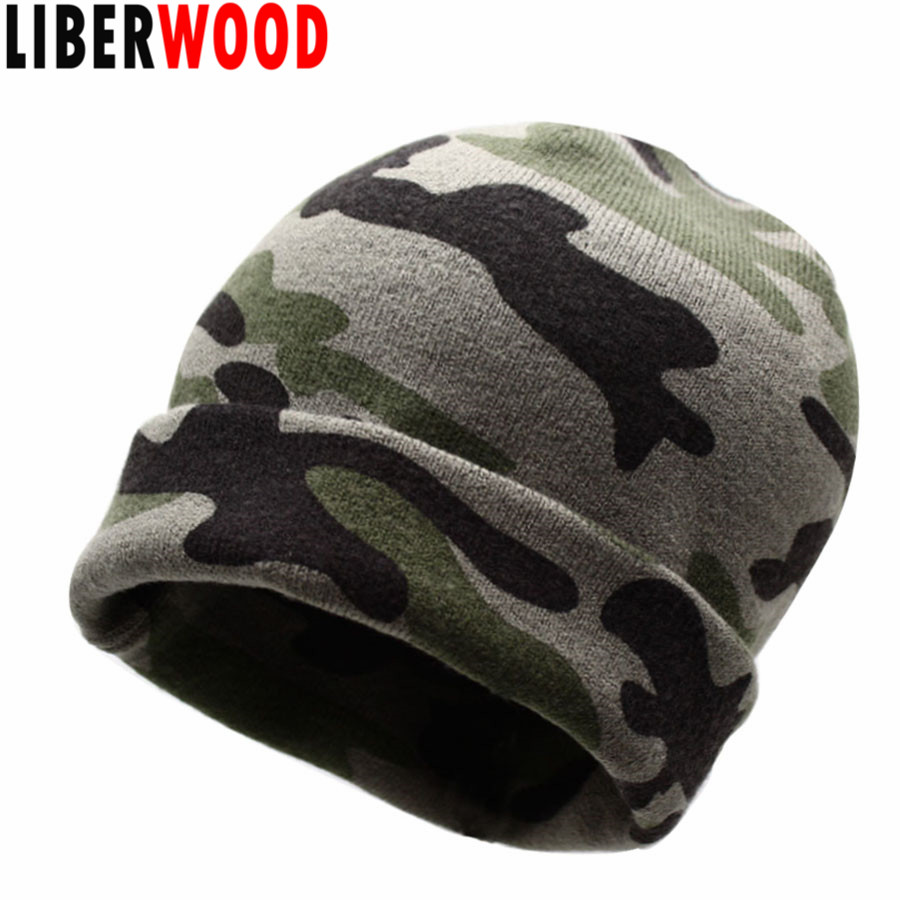 LIBERWOOD Camouflage Winter Beanie Knitted Hat 2-Way Camo Soft Beanies  Skullies Army hat for 034bf6bdd461
