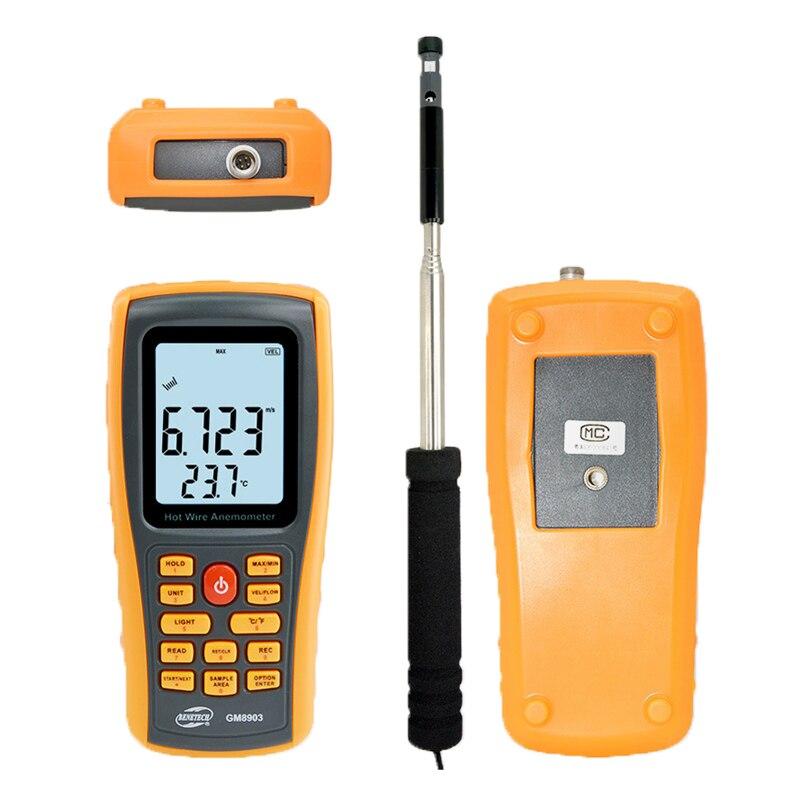 Aletler'ten Hız Ölçme Cihazları'de GM8903 Sıcak Tel Dijital Anemometre Termometre Rüzgar Hızı Ölçer Ölçer Windmeter 30 m/s Rüzgar Hızı Akış Test Cihazı ile USB title=